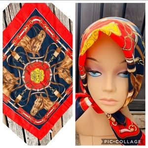 Vtg. Equestrian Horse Bridle Riding Red Head Scarf